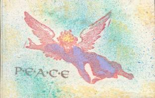 Images stamped and embossed on distressed wood postcards.