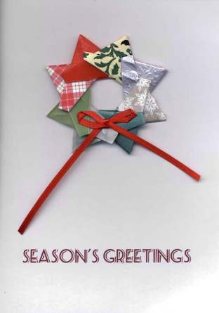 Origami Star turns into a Wreath with a simple ribbon!